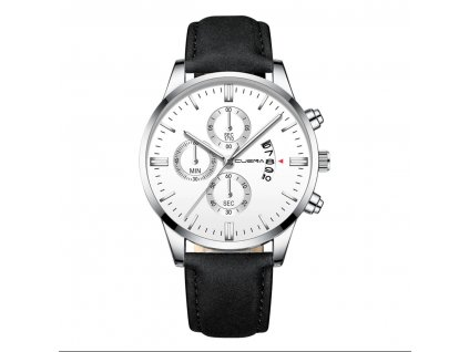 hodinky panske stribrne s cernym reminkem