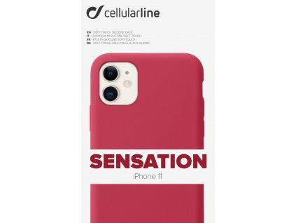 Ochranný silikonový kryt CellularLine SENSATION pro Apple iPhone 11, červený