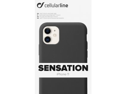 Ochranný silikonový kryt CellularLine SENSATION pro Apple iPhone 11, černý
