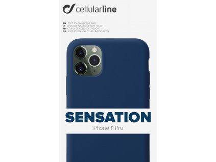 Ochranný silikonový kryt CellularLine SENSATION pro Apple iPhone 11 Pro, modré