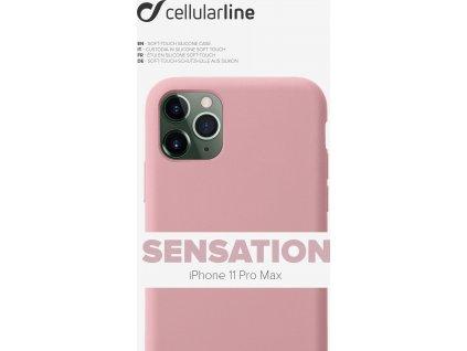 Ochranný silikonový kryt CellularLine SENSATION pro Apple iPhone 11 Pro Max, růžový