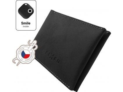 Kožená peněženka Smile Wallet se smart trackerem FIXED Smile s motion senzorem, černá