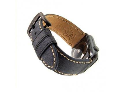 Kožený řemínek FIXED Berkeley pro Apple Watch 42/44/45mm s černou sponou, uhlově černý