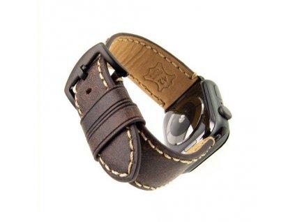 Kožený řemínek FIXED Berkeley pro Apple Watch 42/44/45mm s černou sponou, uhlově hnědý