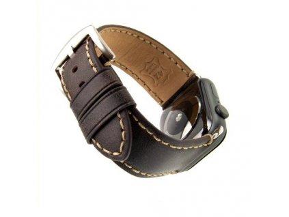 Kožený řemínek FIXED Berkeley pro Apple Watch 42 mm a 44 mm se stříbrnou sponou, velikost L, uhlově hnědý