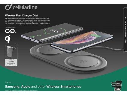 Bezdrátová nabíjecí stanice Cellularline Wireless Fast Charger Dual s 2 x 10W, Qi kompatibilní, černá