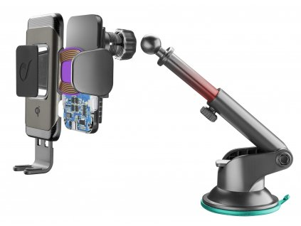 Univerzální držák Cellularline Pilot Instant Wireless s funkcí bezdrátového nabíjení, černý