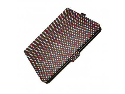 """Pouzdro pro 10,1"""" tablety FIXED Novel se stojánkem a kapsou pro stylus, PU kůže, motiv Rainbow Dots"""