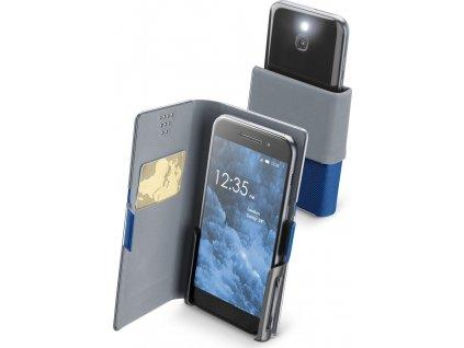 Univerzální pouzdro Cellularline Slide&Click M s odklápěcí horní částí, PU kůže, modré