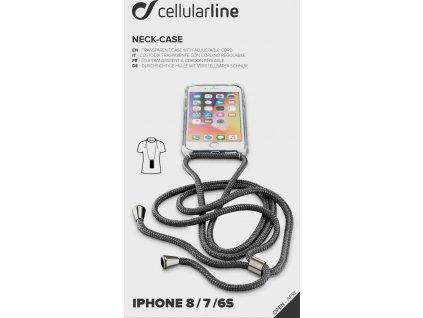 Transparentní zadní kryt Cellularline Neck-Case s černou šňůrkou na krk pro Apple iPhone 6/7/8