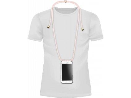 Transparentní zadní kryt Cellularline Neck-Case s růžovou šňůrkou na krk pro Apple iPhone 6/7/8