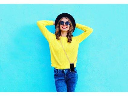 Transparentní zadní kryt Cellularline Neck-Case s růžovou šňůrkou na krk pro Apple iPhone X/XS