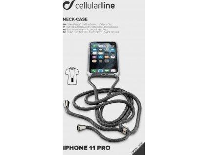 Transparentní zadní kryt Cellularline Neck-Case s černou šňůrkou na krk pro Apple iPhone 11 Pro