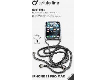 Transparentní zadní kryt Cellularline Neck-Case s černou šňůrkou na krk pro Apple iPhone 11 Pro Max