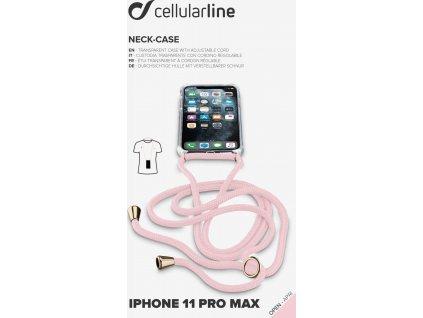 Transparentní zadní kryt Cellularline Neck-Case s růžovou šňůrkou na krk pro Apple iPhone 11 Pro Max