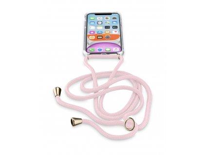 Transparentní zadní kryt Cellularline Neck-Case s růžovou šňůrkou na krk pro Apple iPhone 11