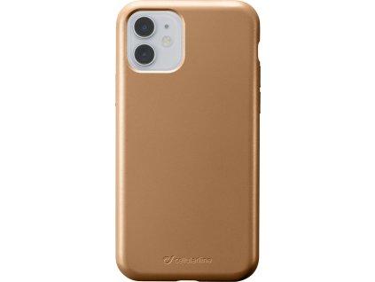 Ochranný silikonový kryt Cellularline Sensation Metallic pro Apple iPhone 11, zlatý