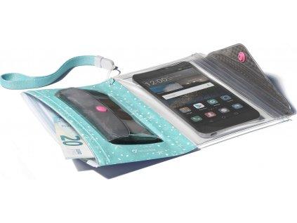 """Voděodolné pouzdro s peněženkou Cellularline Voyager Pochette pro telefony do velikosti 5,2"""", zelené"""