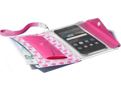"""Voděodolné pouzdro s peněženkou Cellularline Voyager Pochette pro telefony do velikosti 5,2"""", růžové"""