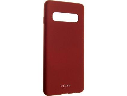 Zadní pogumovaný kryt FIXED Story pro Samsung Galaxy S10, červený