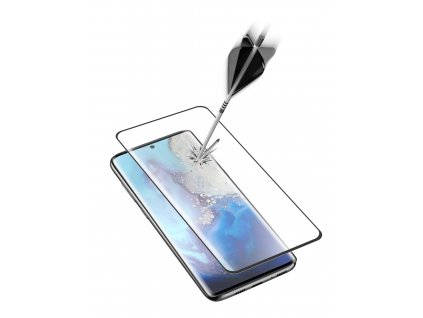 Ochranné zaoblené tvrzené sklo pro celý displej Cellularline Glass pro Samsung Galaxy S20, černé