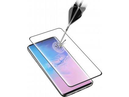 Ochranné zaoblené tvrzené sklo pro celý displej Cellularline Impact Glass pro Samsung Galaxy S20 Ultra, černé