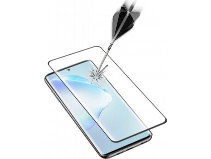 Ochranné zaoblené tvrzené sklo pro celý displej Cellularline Glass pro Samsung Galaxy S20+, černé