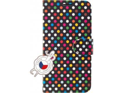 Pouzdro typu kniha FIXED FIT pro Apple iPhone 7/8/SE (2020), motiv Rainbow Dots