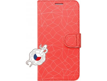 Pouzdro typu kniha FIXED FIT pro Apple iPhone 7/8/SE (2020), motiv Red Mesh