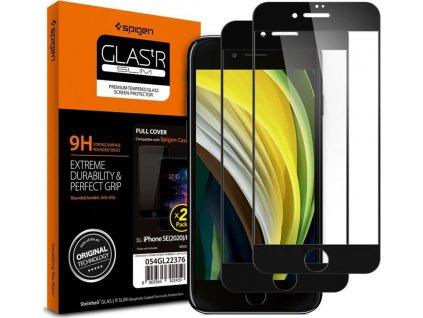 Spigen Glass FC 2 Pack, black - iPhone SE/8/7