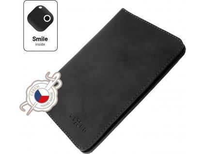 Kožená peněženka FIXED Smile Passport se smart trackerem FIXED Smile Motion, velikost cestovního pasu, černá