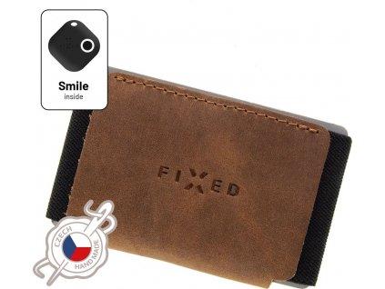 Kožená peněženka FIXED Smile Tiny Wallet se smart trackerem FIXED Smile Motion, hnědá