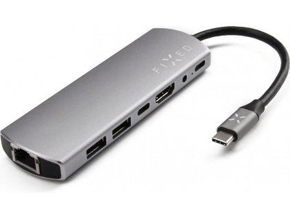 Hliníkový FIXED HUB 7IN1 s rozhraním USB-C pro notebooky a tablety