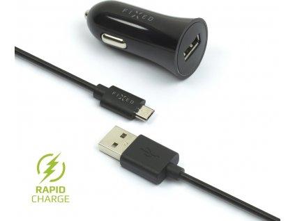 Set autonabíječky FIXED s USB výstupem a USB/micro USB kabelu, 1 metr, 12W, černá
