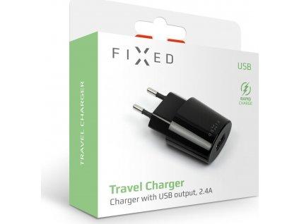 Síťová nabíječka FIXED s USB výstupem, 12W, černá