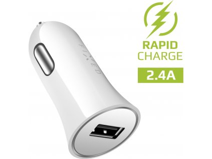 Autonabíječka FIXED s USB výstupem, 12W, bílá