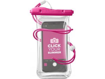 Vodotěsné univerzální pouzdro pro mobilní telefony Cellularline Voyager, růžové