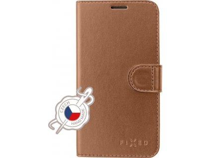 Pouzdro typu kniha FIXED FIT Shine pro Samsung Galaxy A40, bronzové