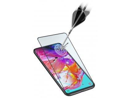 Ochranné tvrzené sklo pro celý displej Cellularline Capsule pro Samsung Galaxy A71, černé