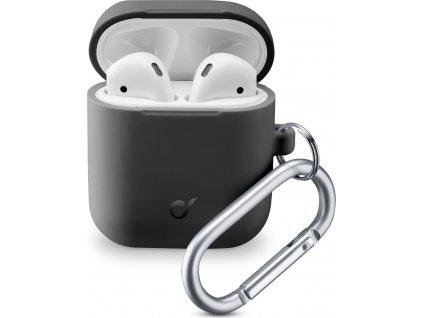 Ochranný kryt s karabinou Cellularline Bounce pro Apple AirPods 1 & 2, černý