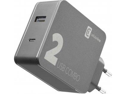 Síťová nabíječka Cellularline Multipower 2 Combo pro notebooky i smartphony s USB-C portem, 42W, černý