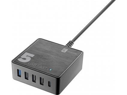Síťová nabíječka Cellularline Multipower 5 Fast+ pro notebooky i smartphony, 4xUSB + USB-C port, 60W, černý