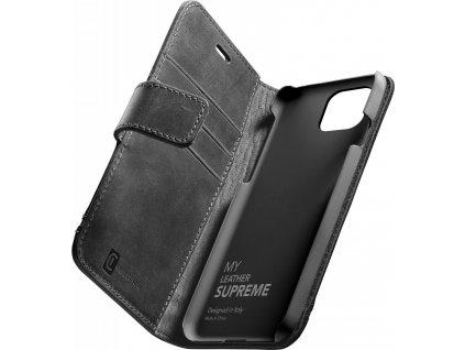 Prémiové kožené pouzdro typu kniha Cellularine Supreme pro Apple iPhone 12/12 Pro, černé