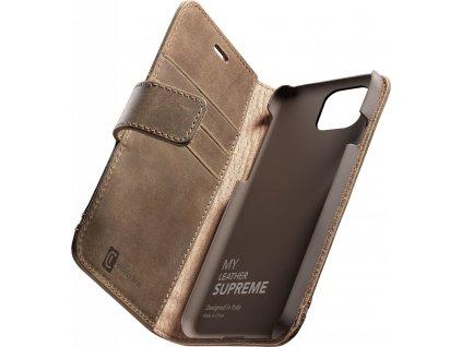 Prémiové kožené pouzdro typu kniha Cellularine Supreme pro Apple iPhone 12/12 Pro, hnědé