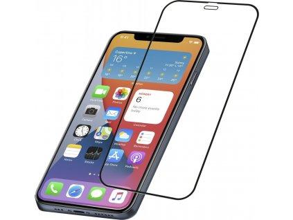Ochranné tvrzené sklo pro celý displej Cellularline CAPSULE pro Apple iPhone 12/12 Pro, černé