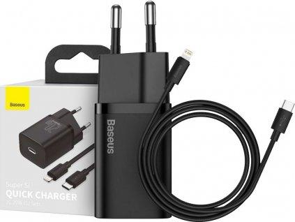 BASEUS SUPER SI NETWORK CHARGER PD20W + LIGHTNING CABLE BLACK - rychlonabíječka pro iPhone