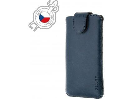 Kožené pouzdro FIXED Posh, velikost 3XL, modré