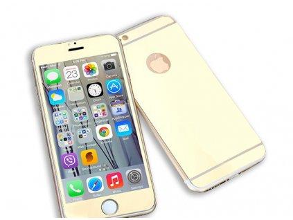 Zrcadlové tvrzené sklo Mirrori (přední + zadní) pro iPhone 6/6S (Barva Zlatý)