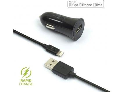 Set autonabíječky FIXED s USB výstupem a USB/Lightning kabelu, 1 metr, MFI certifikace, 12W, černá
