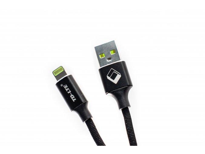 USB kabel TD-LTE Lightning pro Apple iPhone 5/5S/5C/SE a 6/6S/6 PLUS/6S PLUS/7/7 Plus/8/8 Plus/X a iPad, Metal Black